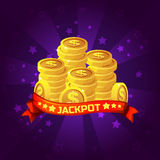 Jackpot winner background. Golden coins treasure For Ui Game element Royalty Free Stock Photo
