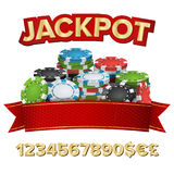Jackpot Winner Background Vector. Gambling Poker Chips Illustration. For Online Casino, Card Games, Poker, Roulette. Jackpot Winner Background Vector. Gambling Royalty Free Stock Images