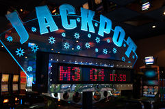 Jackpot winner sign from casino Stock Images