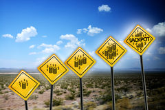 Jackpot yellow road signs Royalty Free Stock Photo