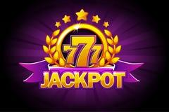 Jackpotfahne mit purpurrotem Band, 777 Ikonen und Text Vektorillustration für Kasino, Schlitze, Roulette und Spiel UI lizenzfreie abbildung