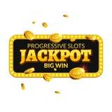Jackpotkasinoaufkleber-Hintergrundzeichen Kasinojackpot prägt das glänzende Symbol des Geldsieger-Textes, das auf Weiß lokalisier Stockfotos