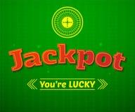 Jackpotlogo, Spielvektorillustration Lizenzfreies Stockbild