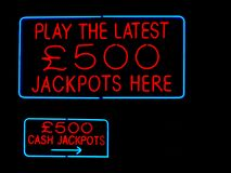 Jackpots neon sign Stock Images