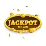 Jackpott som spelar retro banergarnering Affärsjackpottgarnering Mall för symbol för vinnaretecken lycklig med myntpengar Arkivfoton