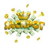 Jackpottkasinobaner Färgrika objekt som mynt, sedlar och enormt bokstavstecken stock illustrationer