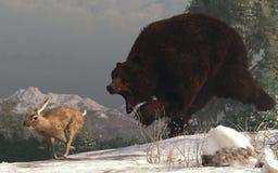 Bear Chasing Rabbit vector illustration