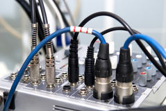 Jacks of audio/video mixer Stock Photography