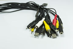 Jacks and plugs, a cluster Royalty Free Stock Photo