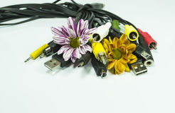 Jacks,plugs and flowers bouquet Royalty Free Stock Images