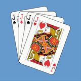Jacks poker on blue Royalty Free Stock Photos