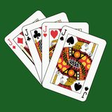 Jacks poker on green Royalty Free Stock Images