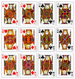 Jacks queens kings 62x90 mm. Illustration of jacks queens and kings playing cards Royalty Free Stock Image