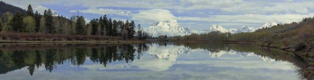 Jackson湖Teton范围横幅 库存图片