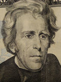Jackson, 20 Dollar bill. Close up of former President Andrew Jackson on the front of the American twenty dollar bill stock image