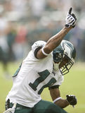 Jackson. Philadelphia Eagles receiver DeSean Jackson celebrates after his 43 yard pass reception in the first quarter of 2009 game at Philadelphia Stock Photography