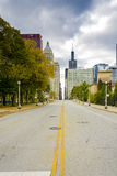 Jackson Boulevard in Chicago. Chicago, IL, USA, october 27, 2016: Jackson Boulevard in downtown Chicago. Chicago is the 3rd most populous US city with 2.7 Royalty Free Stock Images