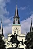 Jackson and Cathedral in Jackson Square stock photos