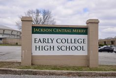 Jackson Central Merry School, Jackson, Tennessee. Jackson Central Merry Early College High School, the school is administered by the Jackson, Tennessee School Royalty Free Stock Image
