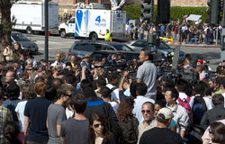 Jackson Fans Gather. A large crowd of fans gather in remembrance of Michael Jackson in front of the UCLA Medical Center shortly after he passed away on Thursday Royalty Free Stock Photo