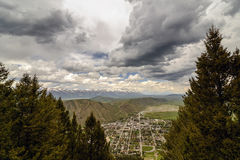 Jackson Hole Aerial View. Ariel view of the city of Jackson Hole. United States of America, Wyoming Royalty Free Stock Images