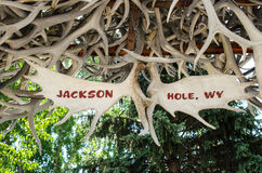 Jackson Hole Antler Arch sign Royalty Free Stock Photo