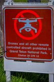 Jackson Hole, USA- May 23 2018: Outdoor view of informative sign of not allow drones of other remote controlled aircraft. In the area of the Grand Teton royalty free stock image