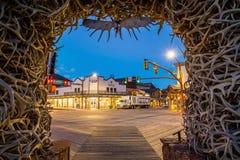 Jackson Hole van de binnenstad in Wyoming de V.S. Stock Afbeelding