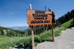 Jackson Hole Wyoming Welcome Sign arkivfoto