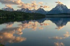 Jackson jezioro Odbija chmury z sosnami i Tetons zdjęcie stock