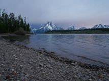 Jackson jezioro, Uroczysty Teton park narodowy, Wyoming U S A zdjęcie royalty free