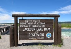 Jackson Lake Dam Sign Royalty-vrije Stock Afbeelding