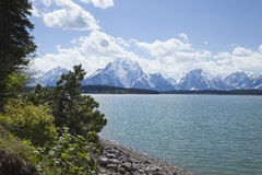 Jackson Lake onder de bergketen van Grand Teton Royalty-vrije Stock Foto