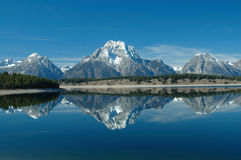 Jackson Lake Reflection. Perfect reflection of Mt Moran in Jackson Lake in Grand Teton National Park, Wyoming Royalty Free Stock Images