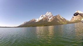 Jackson Lake and Tetons mountains stock video footage