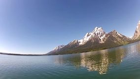 Jackson Lake and Tetons range stock video footage