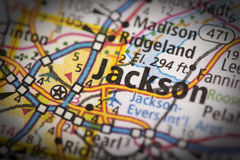 Jackson, Mississippi on map Royalty Free Stock Photography