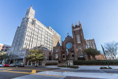 Jackson, MS/USA - circa February 2016: Lamar Life Building and St Andrew's Episcopal Cathedral in Downtown Jackson Royalty Free Stock Photos