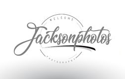 Jackson Personal Photography Logo Design with Photographer Name. Jackson Personal Photography Logo Design with Photographer Name and Handwritten Letter Design Stock Image