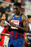 Jackson Quinonez athlete of FC Barcelona. Signing autograph after of 110m hurdles Event of Barcelona Athletics meeting at the Olympic Stadium on July 22, 2011 Stock Photos