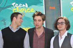 Jackson Rathbone,Kellan Lutz,Robert Pattinson,Jacksons. Kellan Lutz (left), Robert Pattinson & Jackson Rathbone at the 2009 Teen Choice Awards at the Gibson Stock Photo