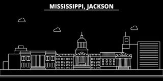 Jackson silhouette skyline. USA - Jackson vector city, american linear architecture, buildings. Jackson travel royalty free illustration