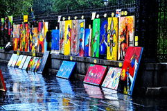 Jackson Square Art i New Orleans, LA Arkivbild