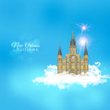 Jackson Square in the Clouds. Jackson Square in New Orleans, Louisiana, on a spring day in the clouds, heavenly, like a Disney castle, French Quarter imagination Stock Photo