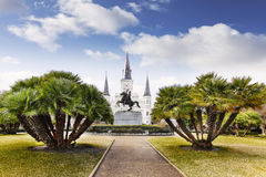 Jackson Square i fransk fjärdedel av New Orleans, USA Arkivfoton