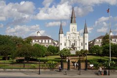 Jackson Square and New Orleans Cathedral Stock Images