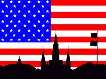 Jackson Square New Orleans illustration. Jackson Square New Orleans and American Flag illustration Royalty Free Stock Image
