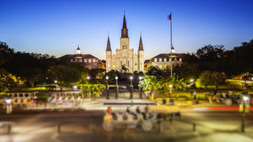 Jackson Square in New Orleans, Louisiana French Quarter at Night Royalty Free Stock Photography