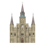 Jackson Square St Louis Cathedral. Jackson Square in New Orleans, Louisiana, on a spring day, St Louis Cathedral, Basilica digital rendering Stock Image