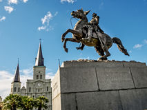 Jackson Square- und St.-Louis Cathedral New Orleans LA Stockfotografie